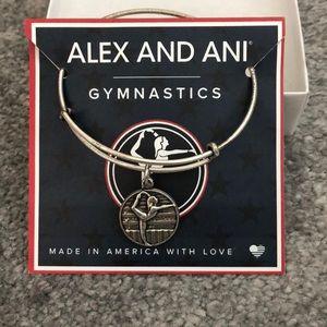 Silver Gymnastics Charm Bangle Bracelet